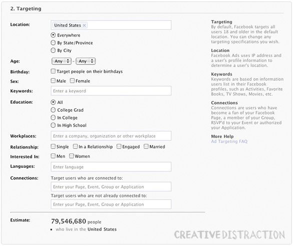 Facebook Ad Creation Interface